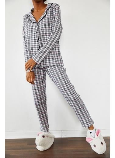 XHAN Hardal Baskılı Pijama Takımı 1Kxk8-44695-37 Beyaz